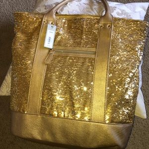 NWT Apt 9 Gold sequin large tote bag purse